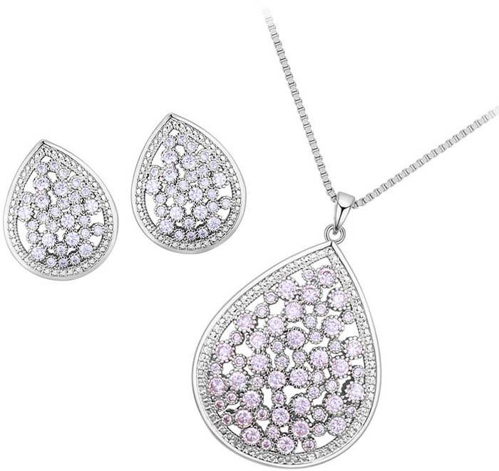 Комплект украшений женский Ice&High кулон + цепочка + серьги, ZD888251R, серебристый, белый