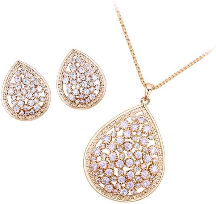 Комплект украшений женский Ice&High кулон + цепочка + серьги, ZD888251Y, золотой, белый