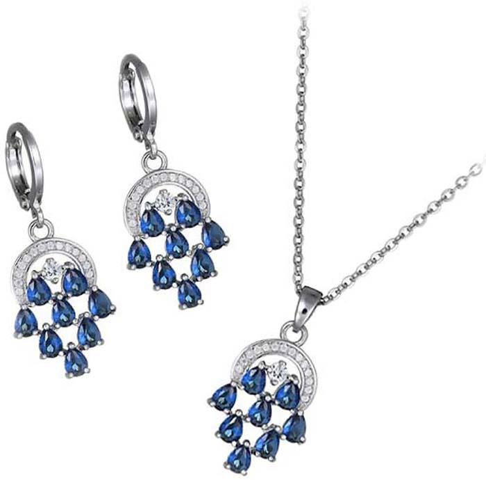Комплект украшений женский Ice&High кулон + цепочка + серьги, ZD888252, серебристый, белый, синий
