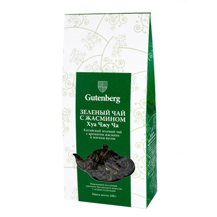 Чай листовой Gutenberg Чай зелёный китайский Хуа Чжу Ча (Зелёный с жасмином), 100 г, 100 зелёный чай моли хуа жасминовый 50 г