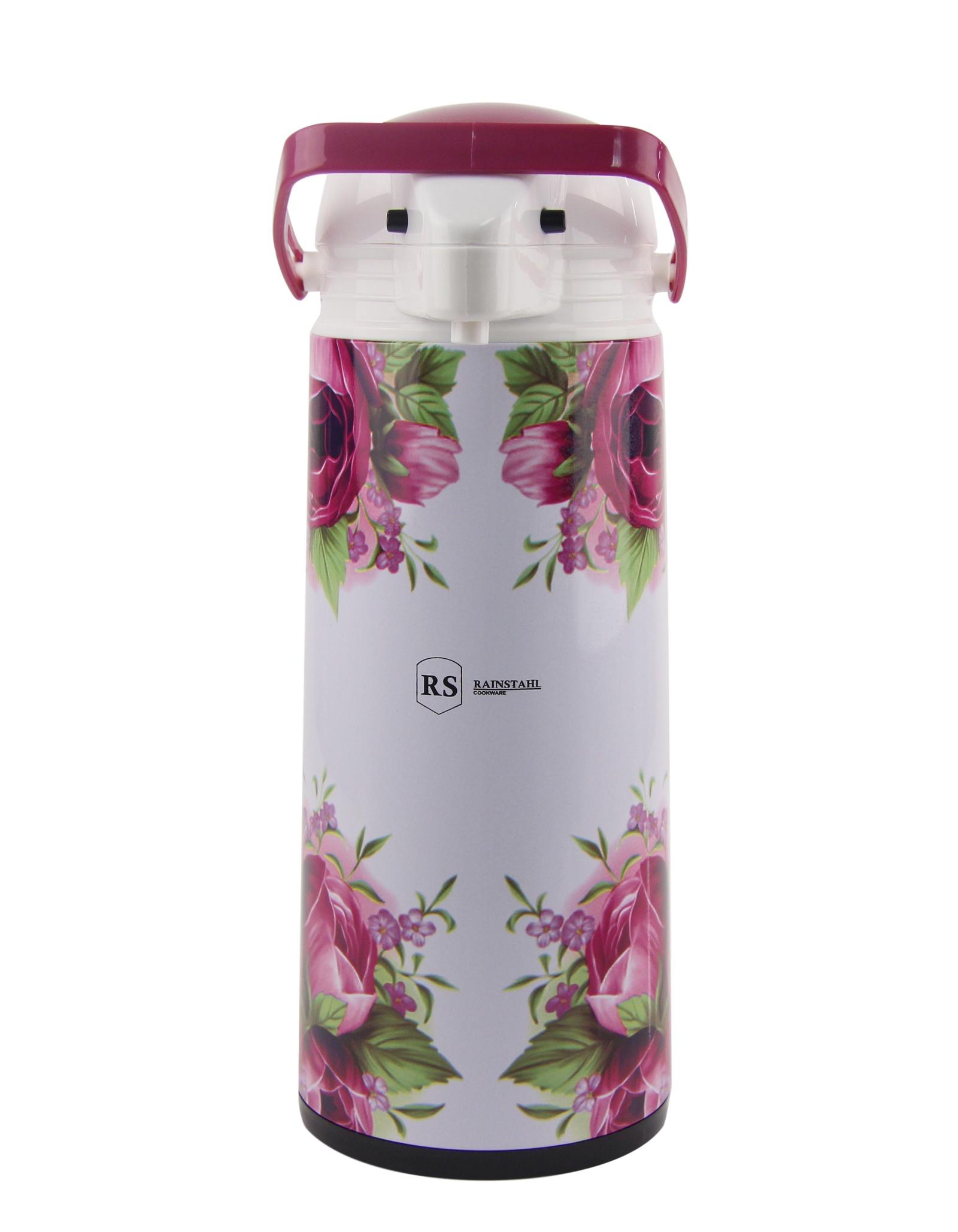Термос Rainstahl, помповый, цвет: розовый, 1,9 л