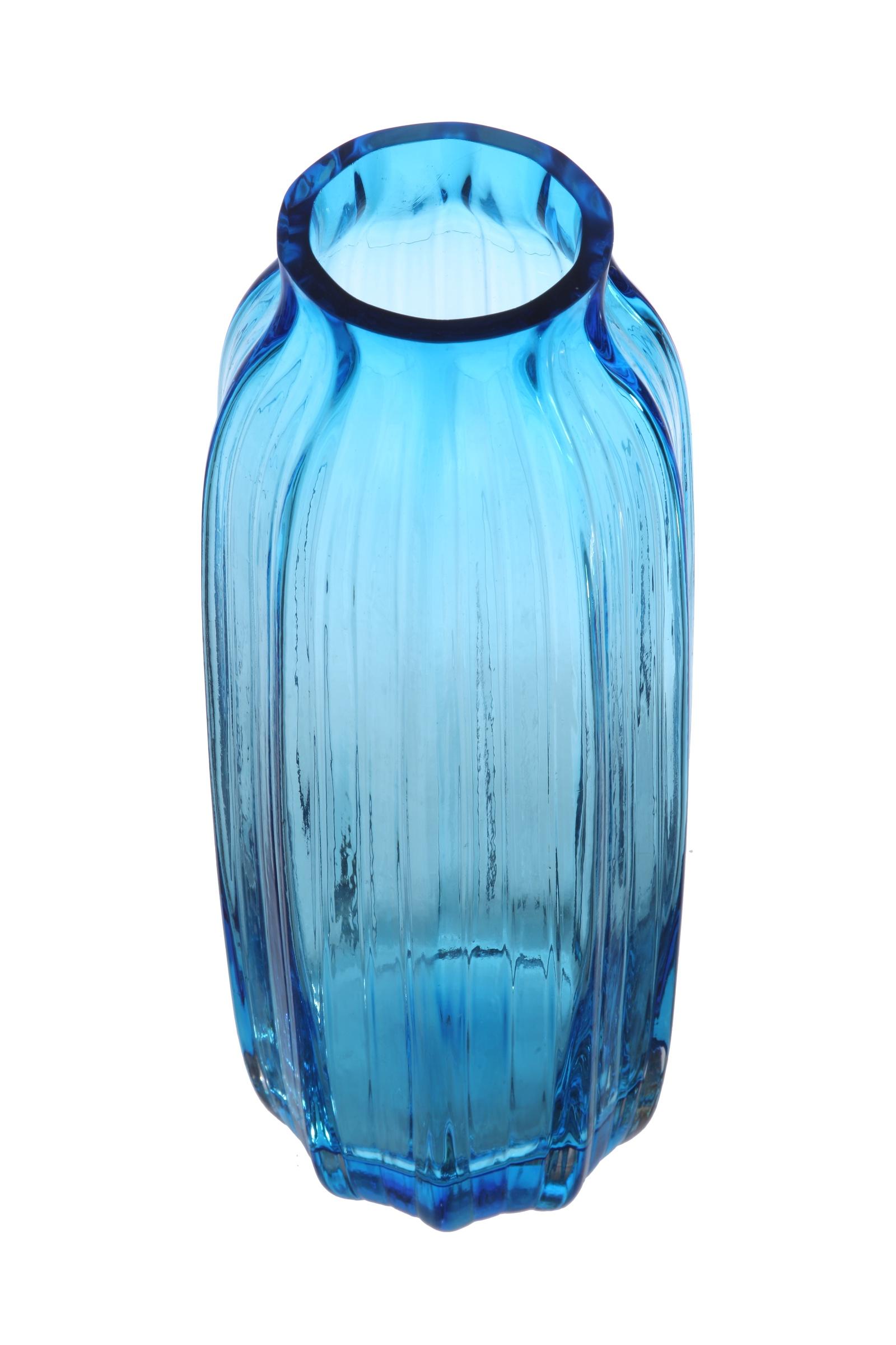 Ваза IsmatDecor Стеклянная ваза, ST-6 голубой, голубой