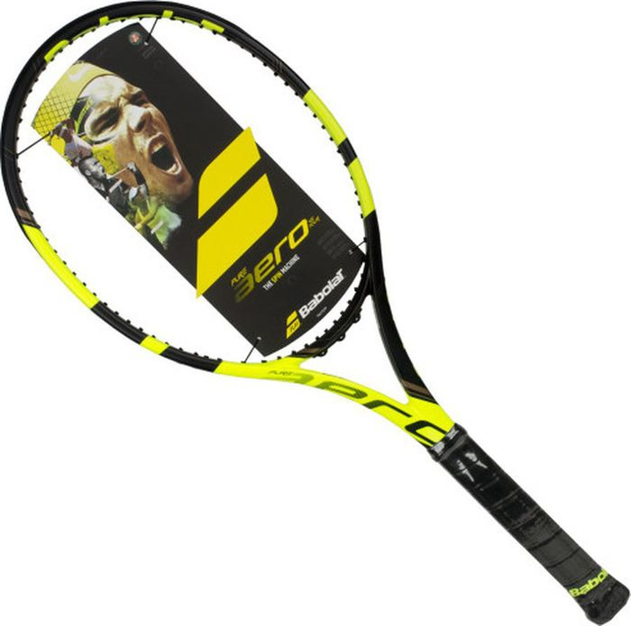 Ракетка теннисная Babolat Pure Aero без натяжки, цвет: желтый, черный, ручка 2