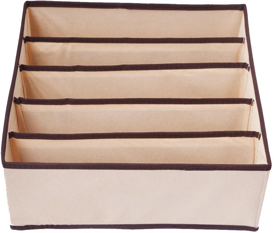 Фото - Органайзер для хранения Eva, секционный, цвет: бежевый, 30 х 30 х 10 см органайзер для хранения вещей eva черное золото 4 отделения 30 х 30 х 10 см