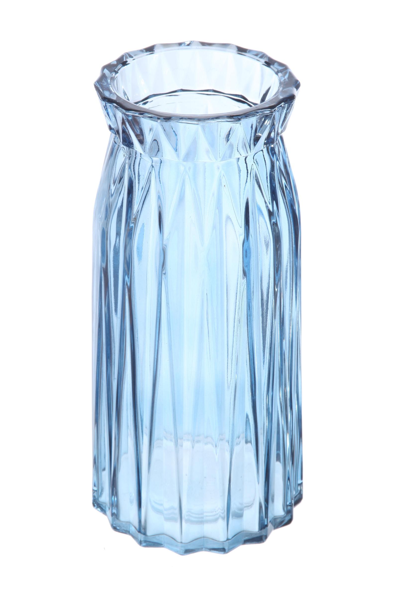 Ваза IsmatDecor Стеклянная ваза, ST-9 голубой, голубой