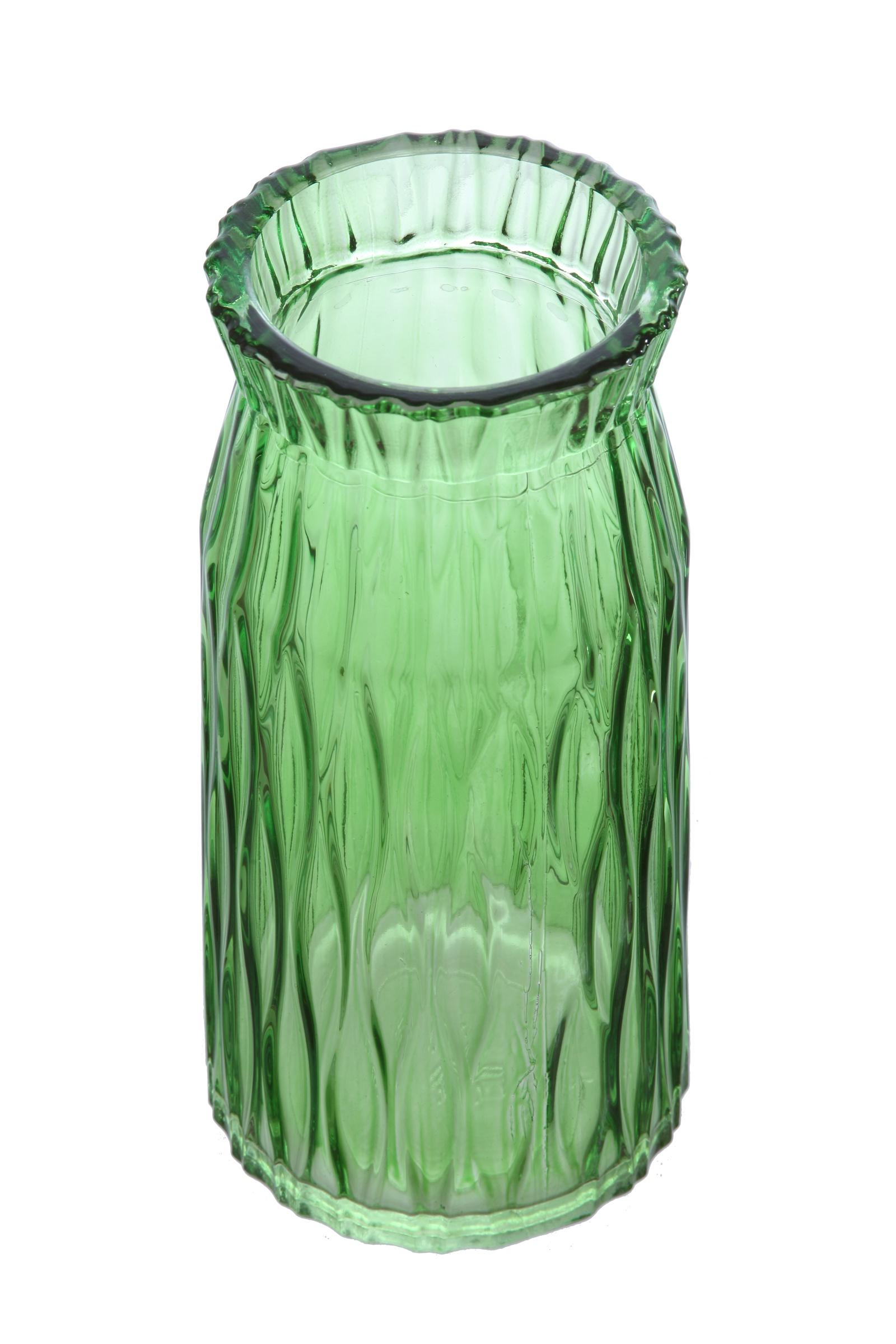 Ваза декоративная IsmatDecor, ST-9, стеклянная, зеленый