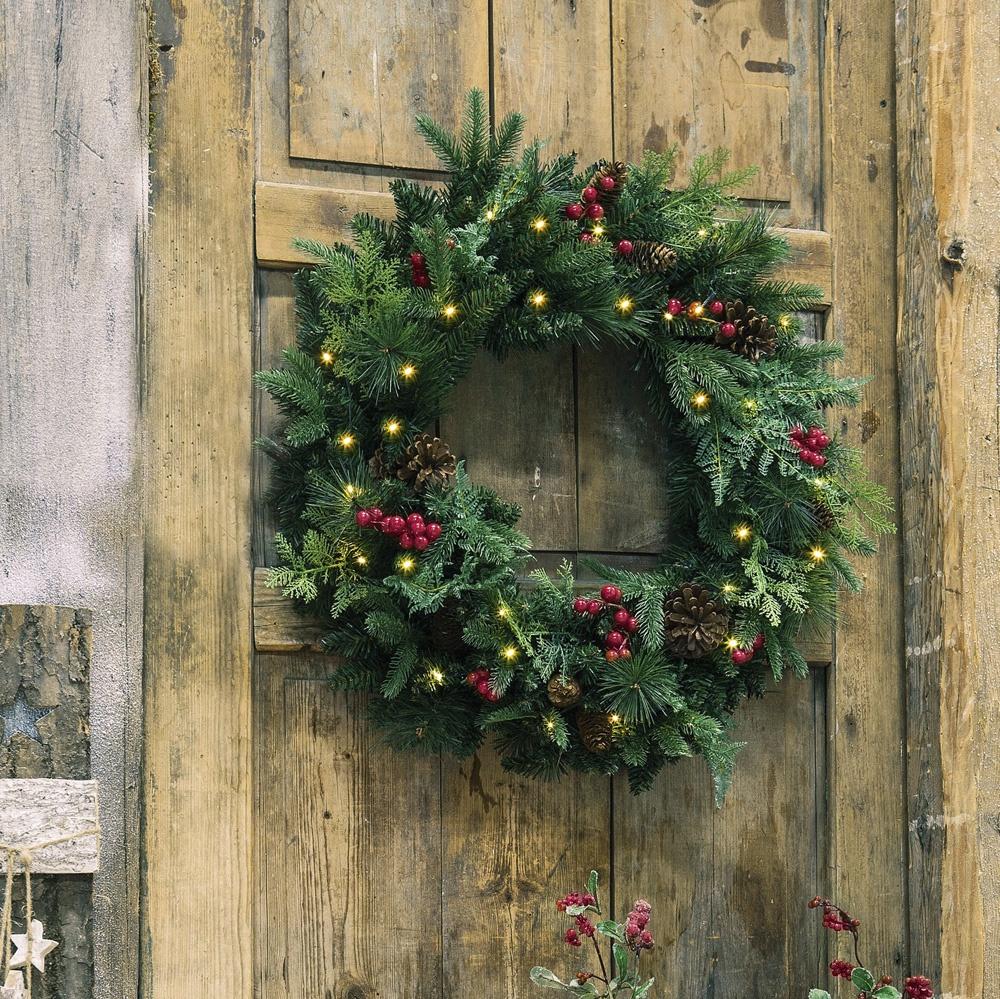 Венок Хит-декор Рождество декоративный, с подсветкой венок на стену 25см золотой текстильный декор