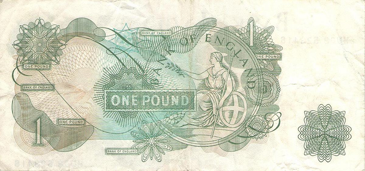 Банкнота номиналом 1 фунт. Великобритания. 1960-1977 года. Р374g