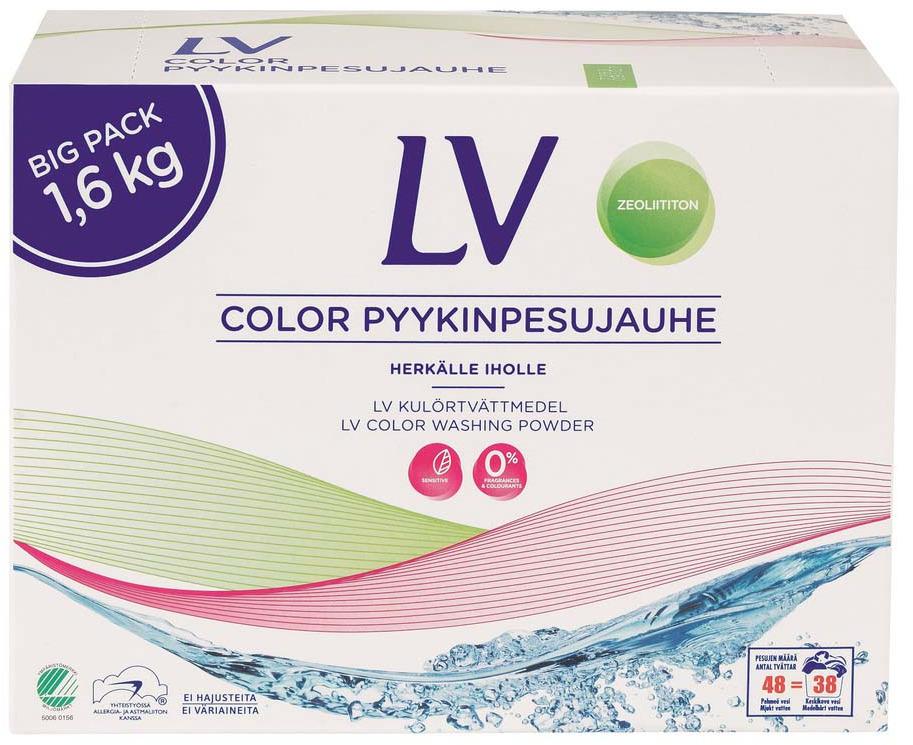 Концентрированный стиральный порошок LV, для цветного белья, 1,6 кг цена 2017