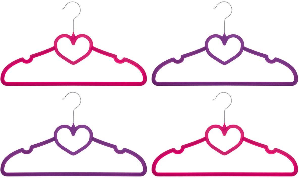 Набор вешалок EL Casa Сердце, с перекладиной, цвет: бордовый, фиолетовый, 4 шт вешалки