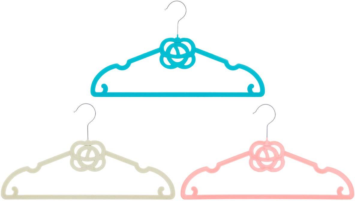 Набор вешалок EL Casa Роза, с перекладиной, с крючками для юбок, цвет: бирюзовый, бежевый, коралловый, 3 шт вешалки