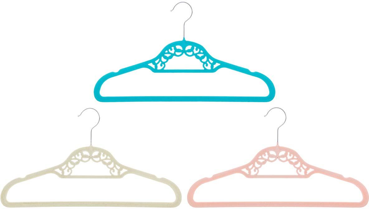 Набор вешалок EL Casa Кружево, с перекладиной, цвет: бирюзовый, бежевый, коралловый, 3 шт вешалки