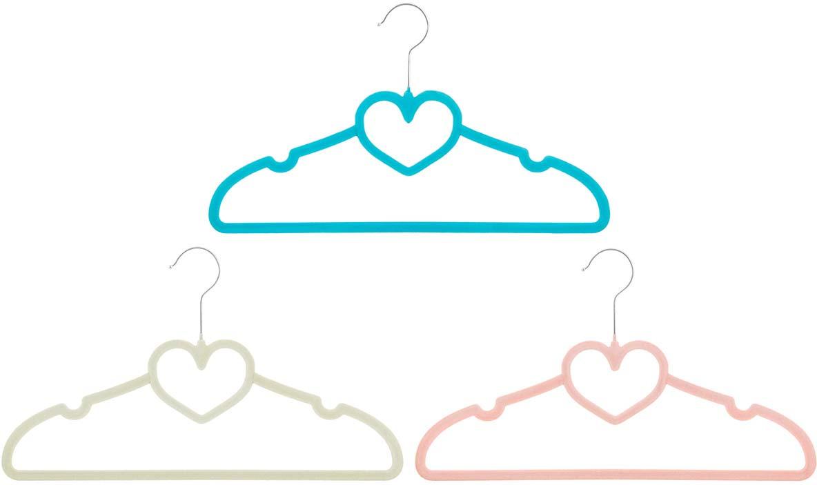 Набор вешалок EL Casa Сердце, с перекладиной, цвет: бирюзовый, бежевый, коралловый, 3 шт вешалки