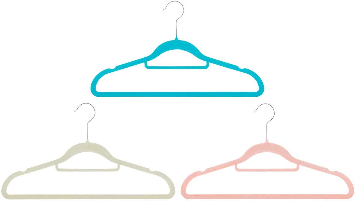 Набор вешалок EL Casa, с перекладиной, цвет: бирюзовый, бежевый, коралловый, 3 шт вешалки