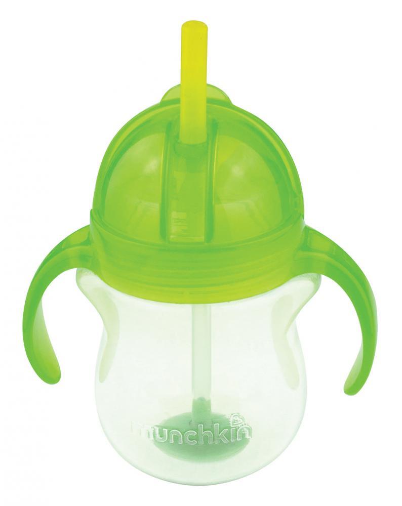 Поильник Munchkin Click Lock, с трубочкой и ручками, 6+, цвет: зеленый, 207 мл munchkin поильник click lock с трубочкой от 12 месяцев цвет сиреневый зеленый 266 мл