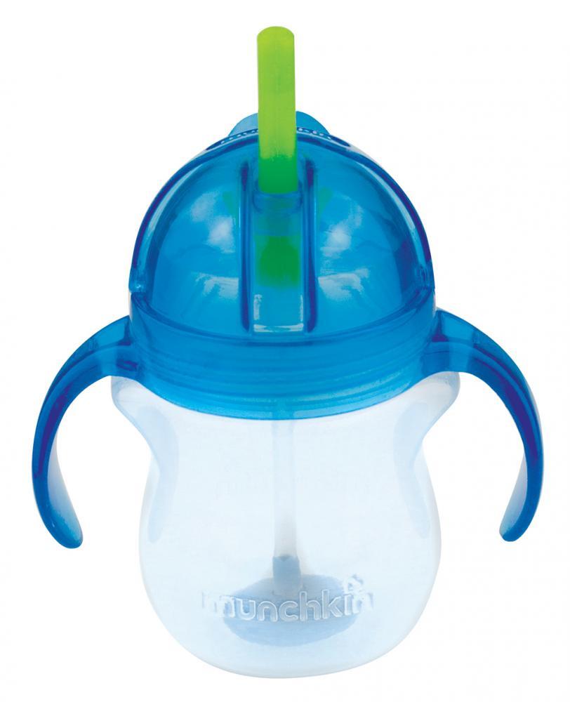 Поильник Munchkin Click Lock, с трубочкой и ручками, 6+, цвет: голубой, 207 мл munchkin поильник click lock с трубочкой от 12 месяцев цвет сиреневый зеленый 266 мл
