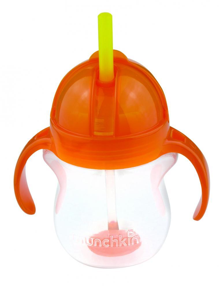 Поильник Munchkin Click Lock, с трубочкой и ручками, 6+, цвет: оранжевый, 207 мл munchkin поильник click lock с трубочкой от 12 месяцев цвет сиреневый зеленый 266 мл