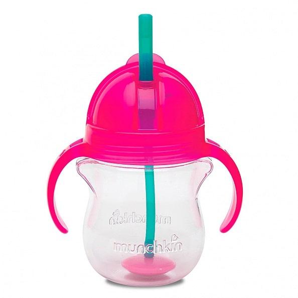 Поильник Munchkin Click Lock, с трубочкой и ручками, 6+, цвет: розовый, 207 мл munchkin поильник click lock с трубочкой от 12 месяцев цвет сиреневый зеленый 266 мл