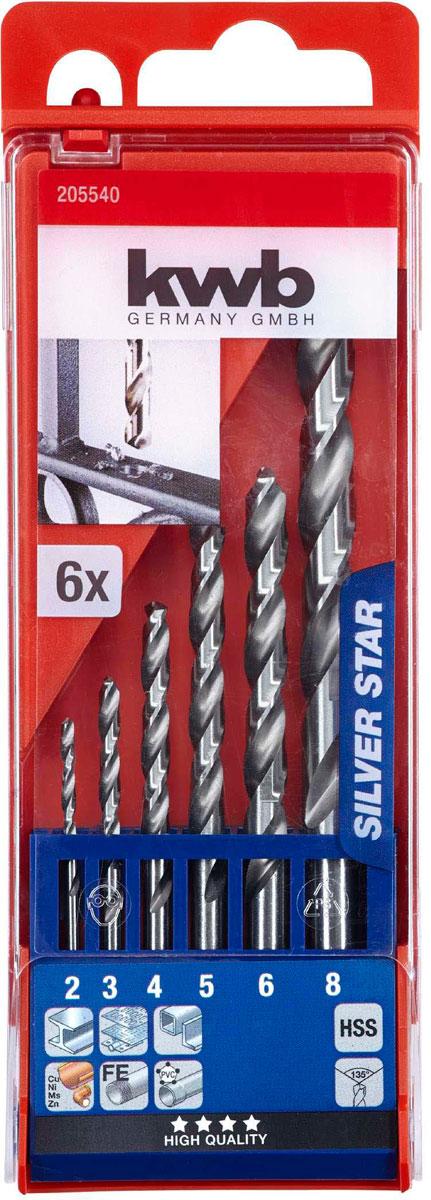 Набор сверл по металлу Kwb HSS Silver Star, 2-8 мм, 6 шт набор сверл металл 2 8 мм через 0 5 мм hss 13 шт цилиндрический хвостовик sparta