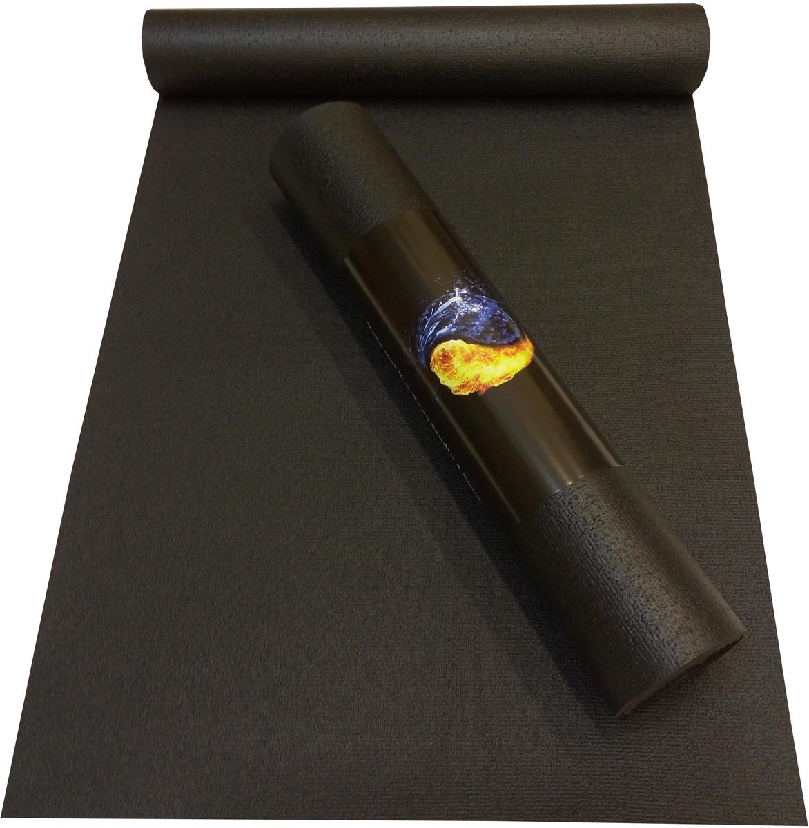 Коврик для йоги Ako-Yoga Yin-Yang Studio, цвет: черный, 185 х 80 см