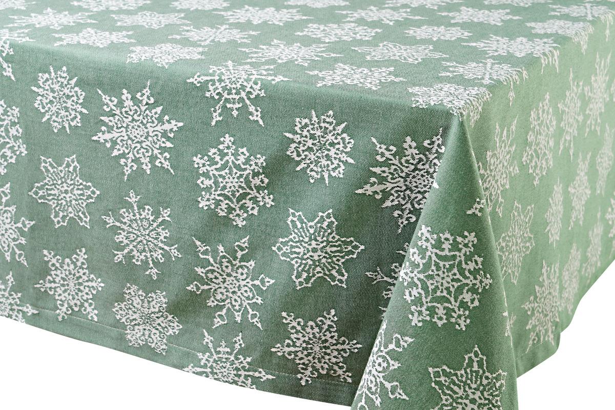 """Скатерть Votex Home """"Снежинки"""", цвет: зеленый, 150 x 220 см"""