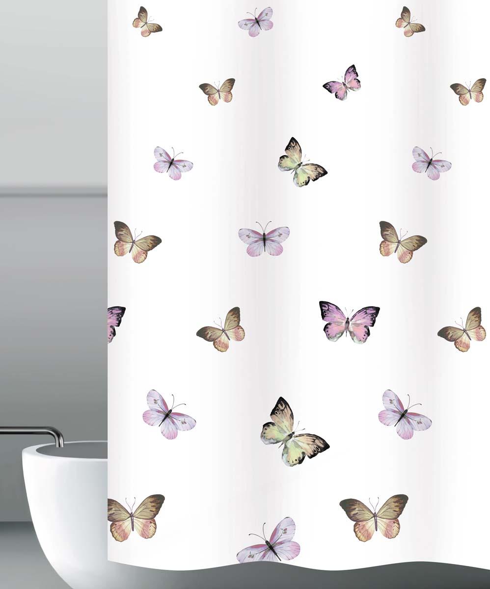 Штора для ванной Бабочки, цвет: белый, 180 х 200 см щипцы для завивки vitek vt 2508 bk
