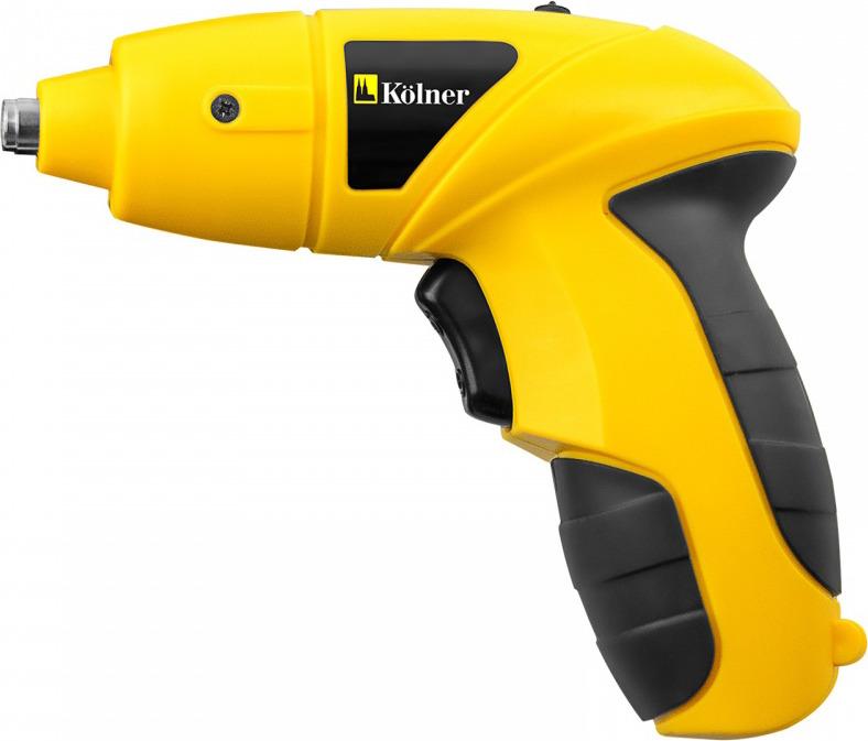 Отвертка аккумуляторная Kolner KCSD, цвет: черный, желтый4650067304724Аккумуляторная отвертка предназначена для завинчивания и вывинчивая крепежа бытовых электроприборов, мебели и прочего. Новая модель отличается эргономичным дизайном. Рукоятка с мягкими вставками более удобно лежит в руке. Кнопка запуска под указательным пальцем. Напряжение аккумулятора 4,8 В. Светодиодная подсветка включается отдельным выключателям. Зарядное устройство из комплекта подключается напрямую к отвертке. Отвертка поставляется в блистерной упаковке с набором бит и удлинителем.