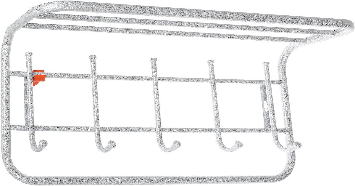 Вешалка настенная ЗМИ, с полкой, 5 крючков, белое серебро, 40 см цена