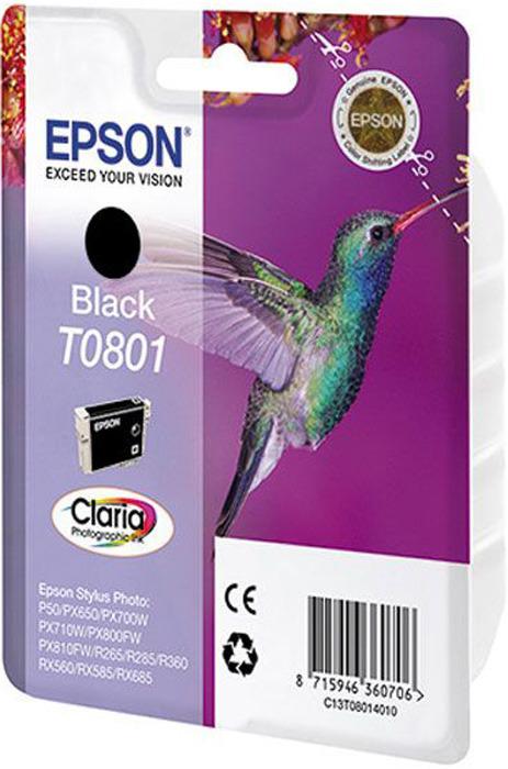 Картридж Epson T0801, черный, для струйного принтера, оригинал