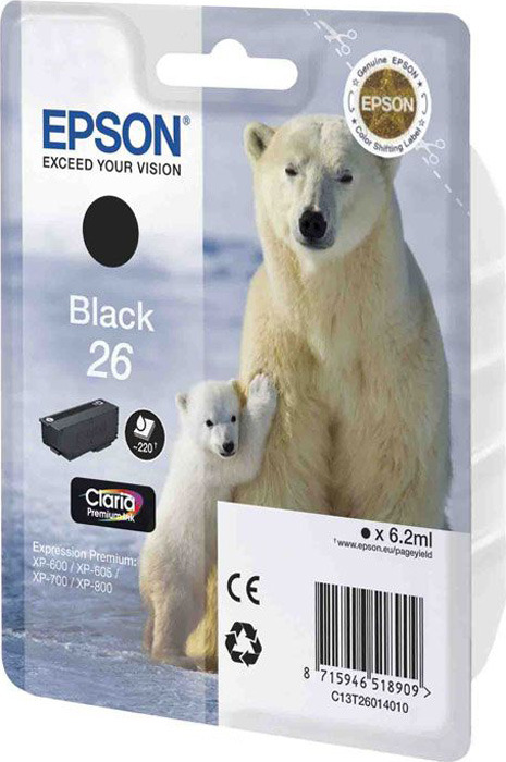 Картридж Epson 26, черный, для струйного принтера, оригинал