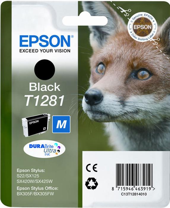 Картридж Epson T1281 (C13T12814010), черный original cc03main mainboard main board for epson l455 l550 l551 l555 l558 wf 2520 wf 2530 printer formatter
