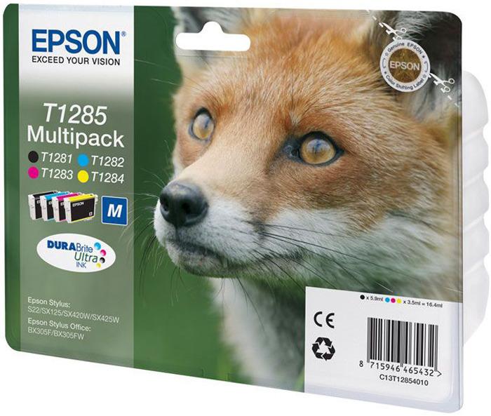 цена на Картридж Epson T1285, черный, голубой, желтый, пурпурный, для струйного принтера, оригинал