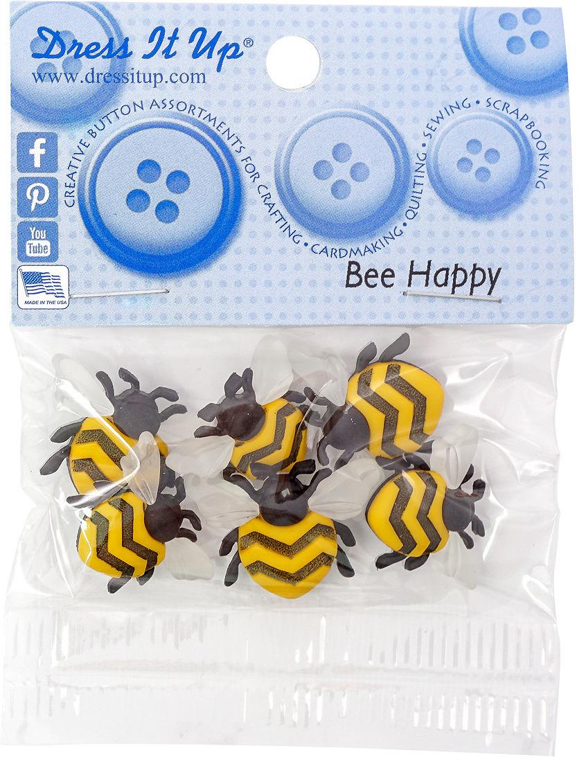 """Набор фигурок-пуговиц Dress It Up """"Счастливые пчелы"""", 6 шт"""