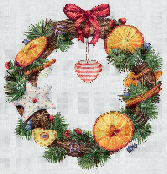 Набор для вышивания крестом Panna Венок с апельсином и корицей, 27 х 27 см набор для вышивания крестом panna благословение успех 27 х 15 см