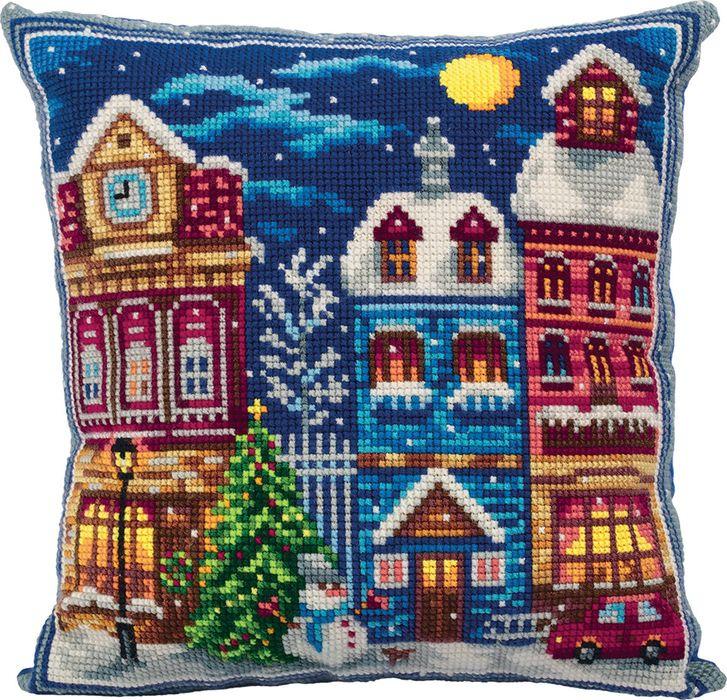 Набор для вышивания крестом Panna Подушка Зимний городок, 42 х 42 см набор для вышивания крестом panna подушка мандала 40 х 40 см