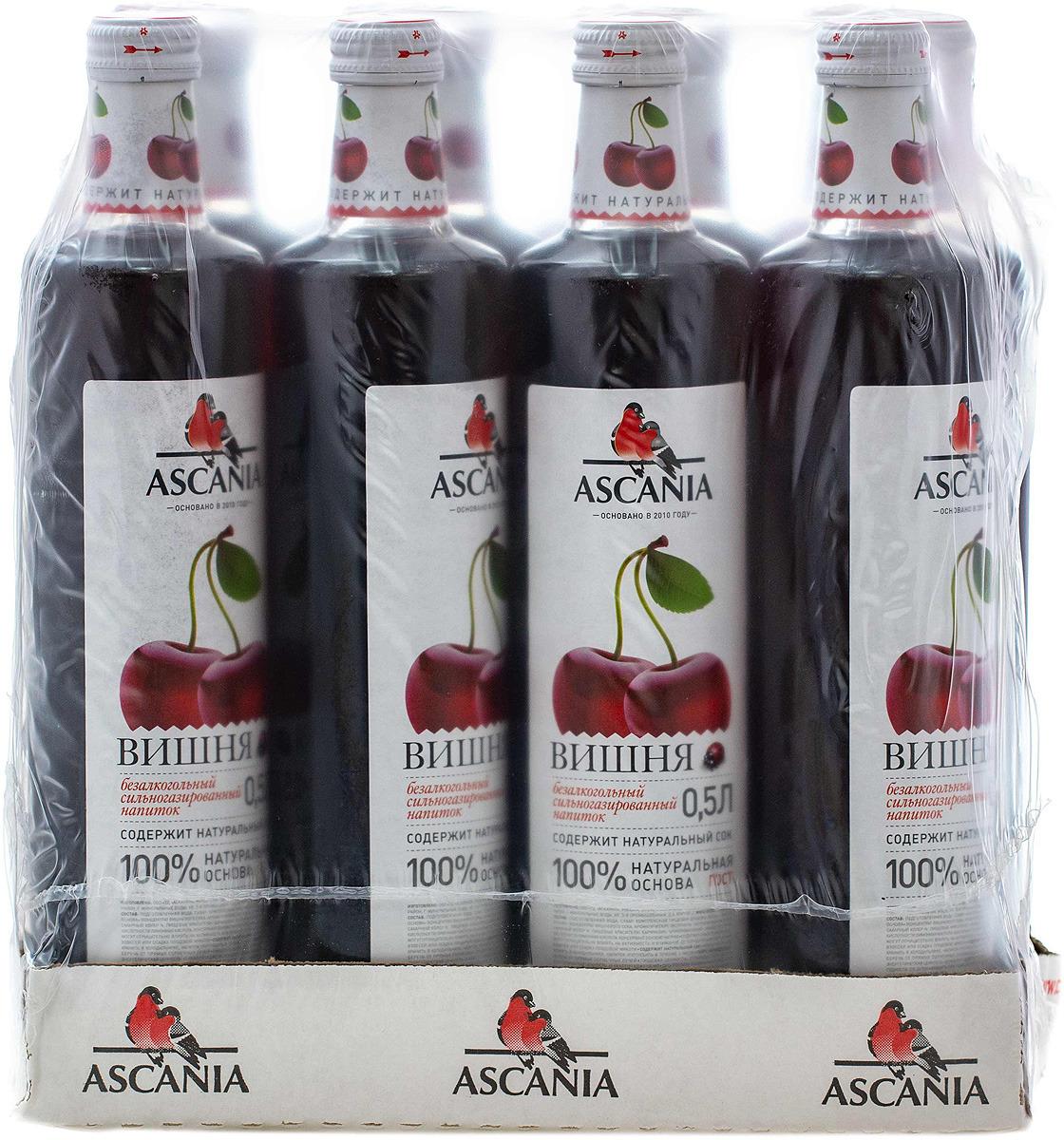"""Безалкогольный напиток среднегазированный Аскания """"Вишня"""", 12 шт по 0,5 л"""