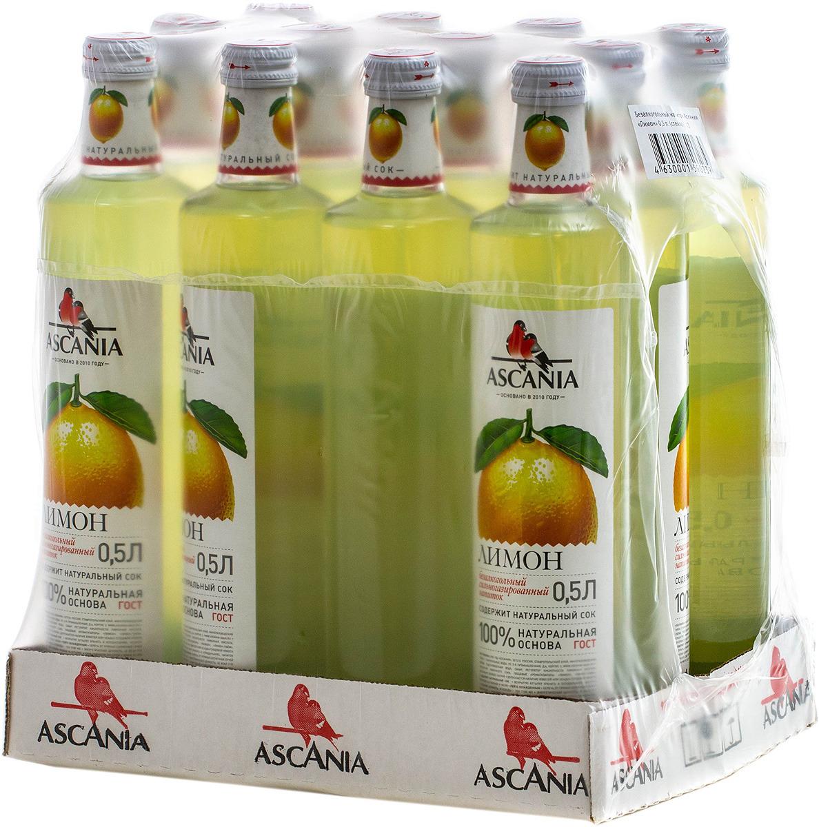 """Безалкогольный напиток среднегазированный Аскания """"Лимон"""", 12 шт по 0,5 л"""