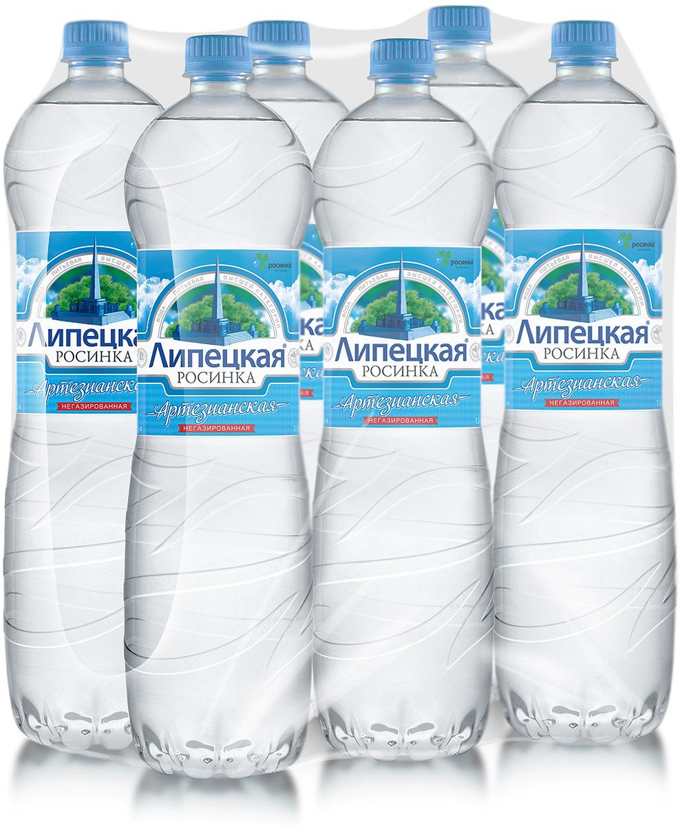 Липецкая Росинка лайт вода негазированая, 6 шт по 1,5 л