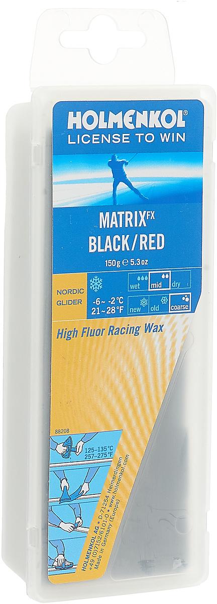 Парафин Holmenkol HF Matrix BK/RED, высокофторовый, -2…-6C, 150 г парафин holmenkol alphamix weltcup skiwax 1x150g желтый 150g