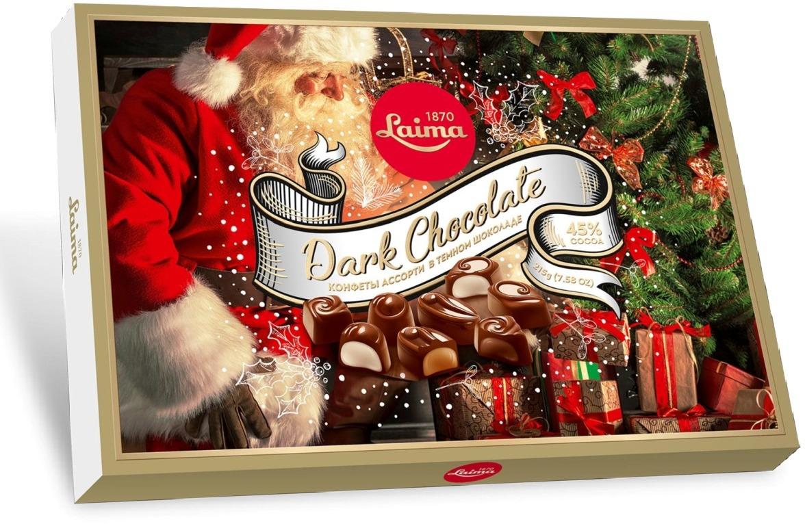 Ассорти шоколадных конфет Laima, в темном шоколаде, в конверте, новогодний дизайн, 215 г Laima