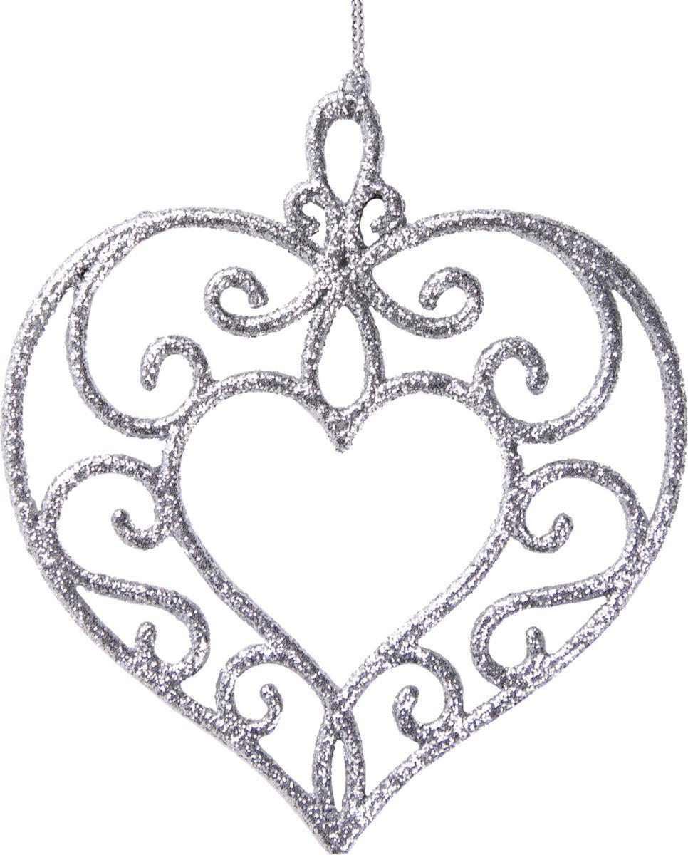 Новогоднее елочное украшение Magic Time Серебряное сердце, 10,5 х 9,5 см елочное украшение christmas house сердце