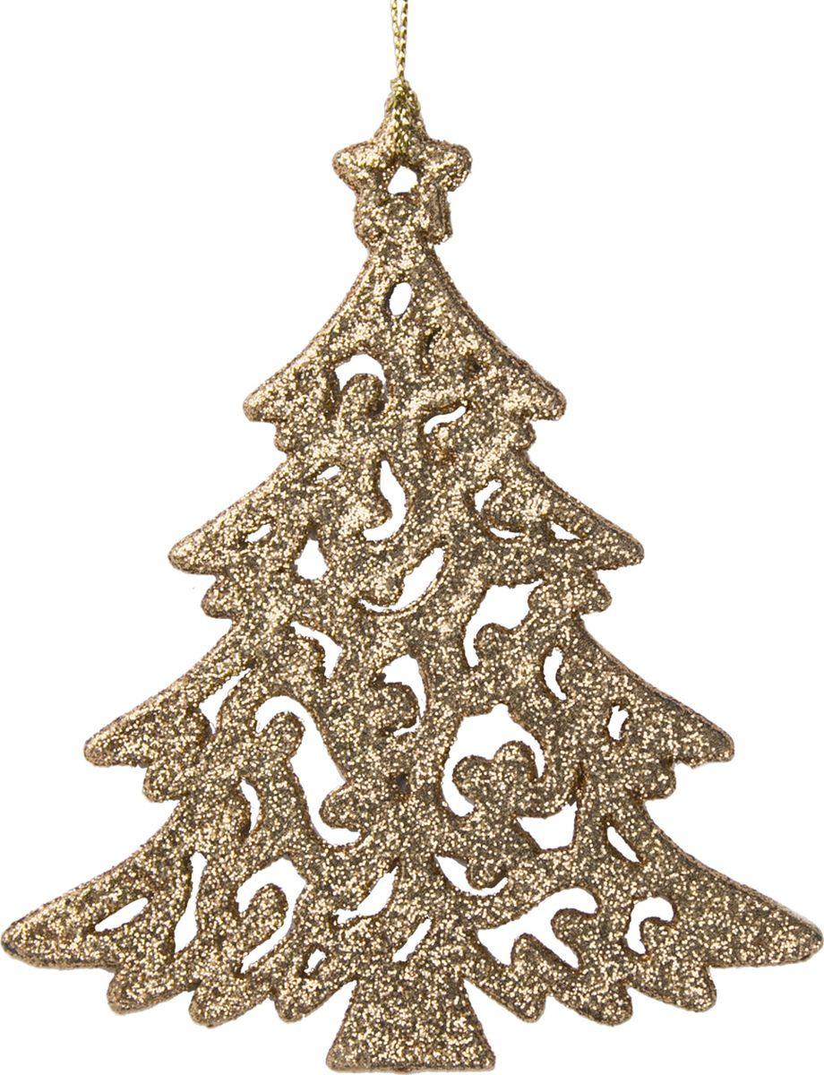 Новогоднее подвесное елочное украшение Magic Time Золотистая елочка, 12 x 10 x 0,3 см украшение новогоднее елочка заснеженная цвет красный 14 5 см 35691
