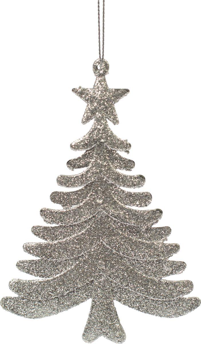 Новогоднее подвесное елочное украшение Magic Time Ель серебряная, 10 x 14,5 x 0,1 см новогоднее подвесное елочное украшение magic time сердце цвет серебряный 10 5 x 9 5 x 0 3 см