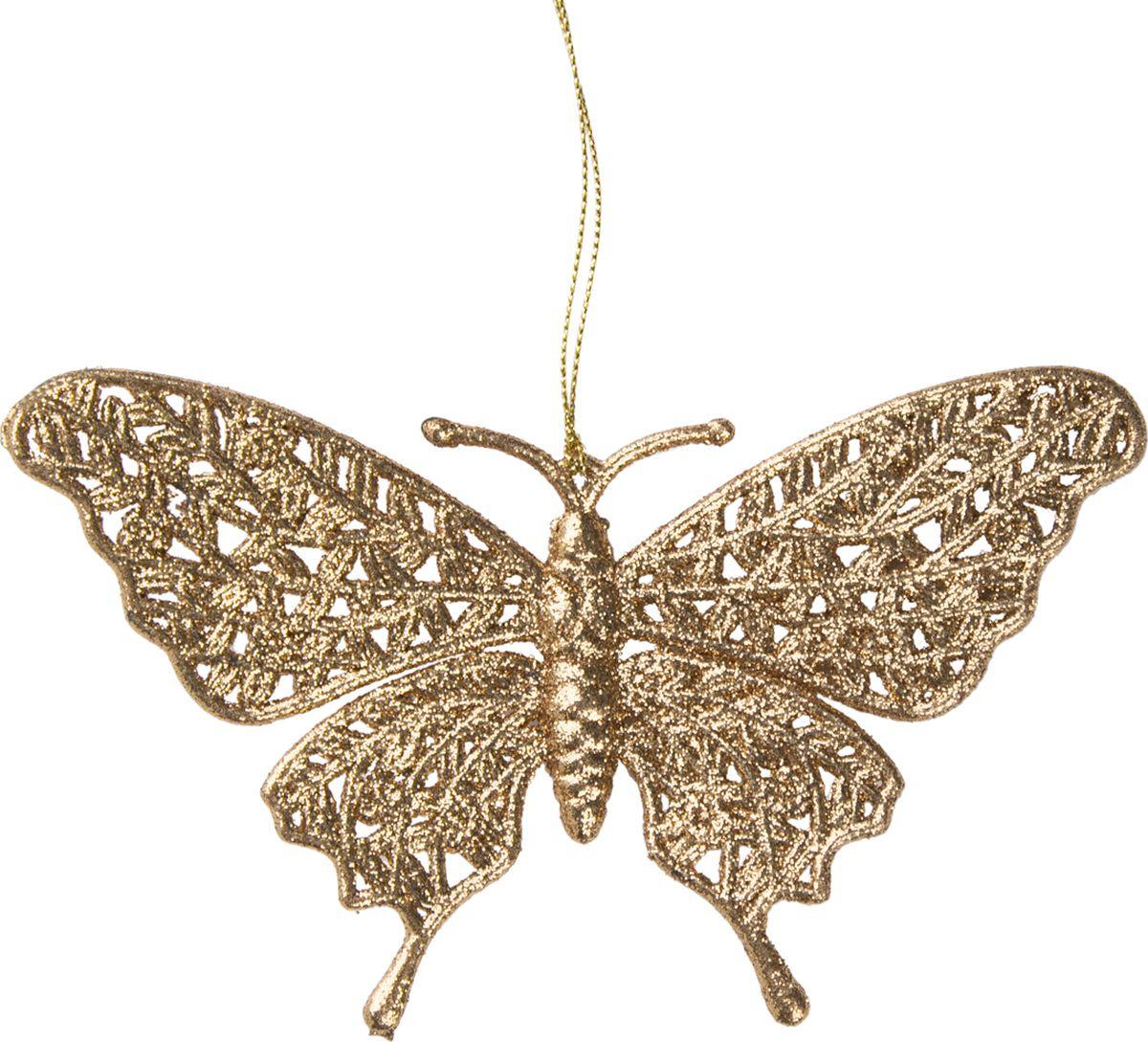 """Новогоднее подвесное елочное украшение Magic Time """"Золотая бабочка"""", 16,7 x 10 x 0,2 см"""