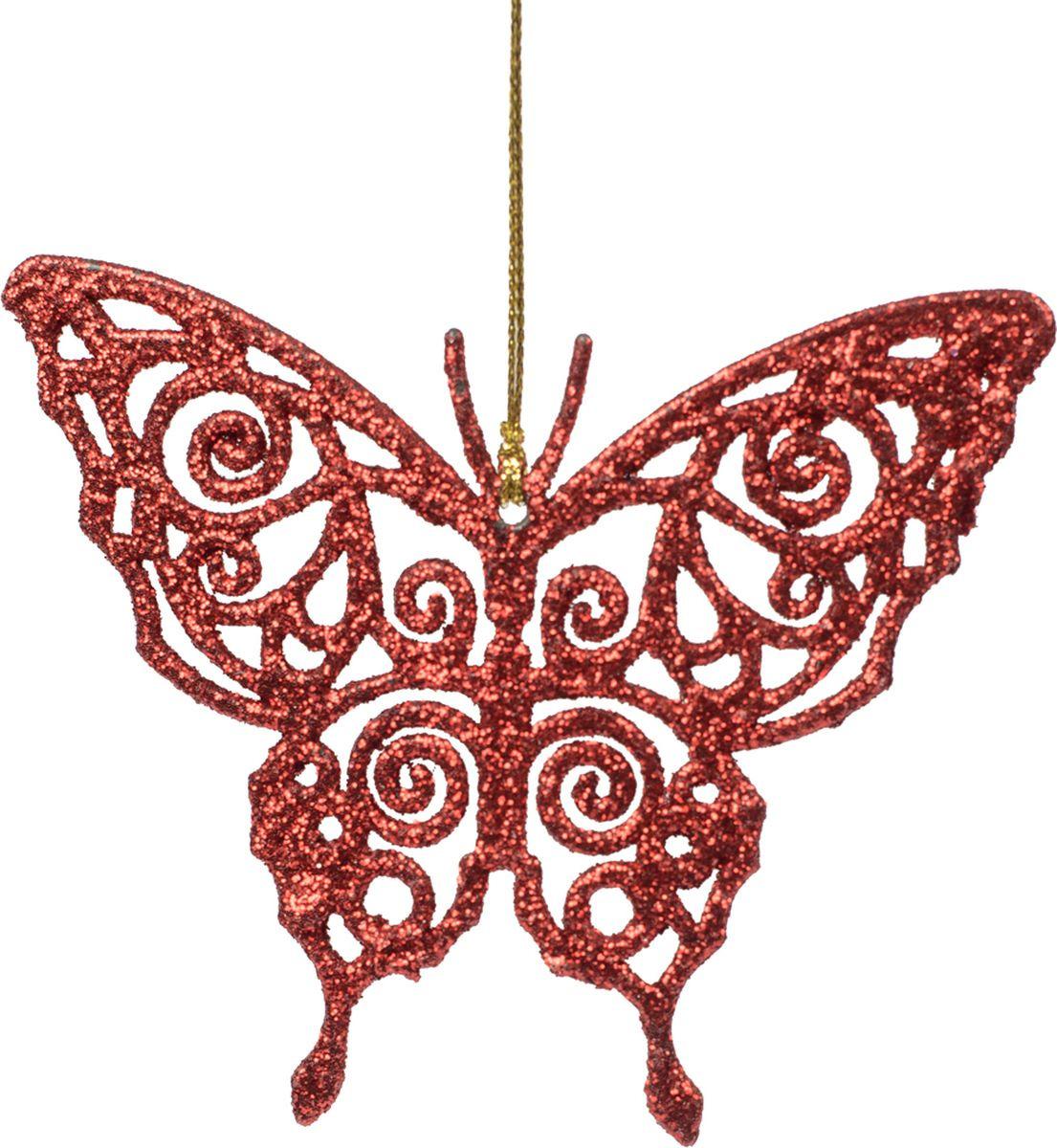 Новогоднее подвесное елочное украшение Magic Time Бабочка красная, 11 x 8,5 x 0,2 см