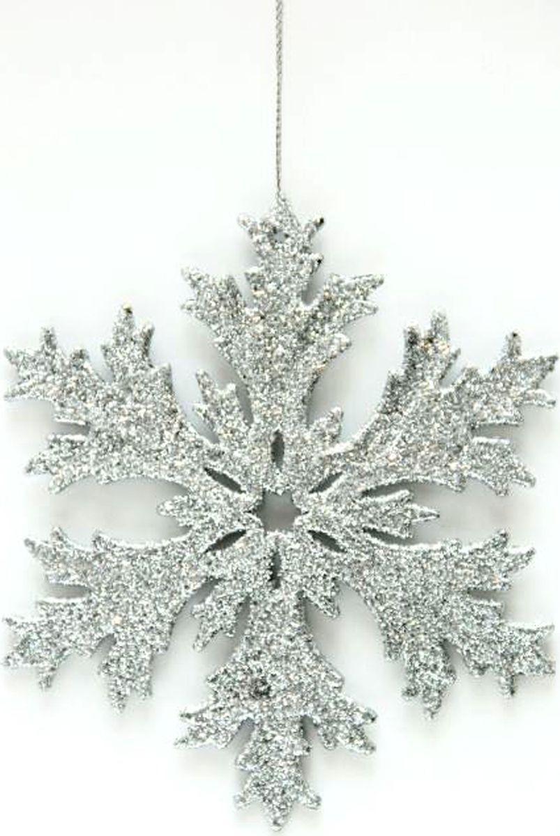 Новогоднее подвесное елочное украшение Magic Time Снежинка в серебряном глиттере, 11,7 x 11,7 x 0,3 см новогоднее подвесное украшение снежинка цвет золотистый 25102