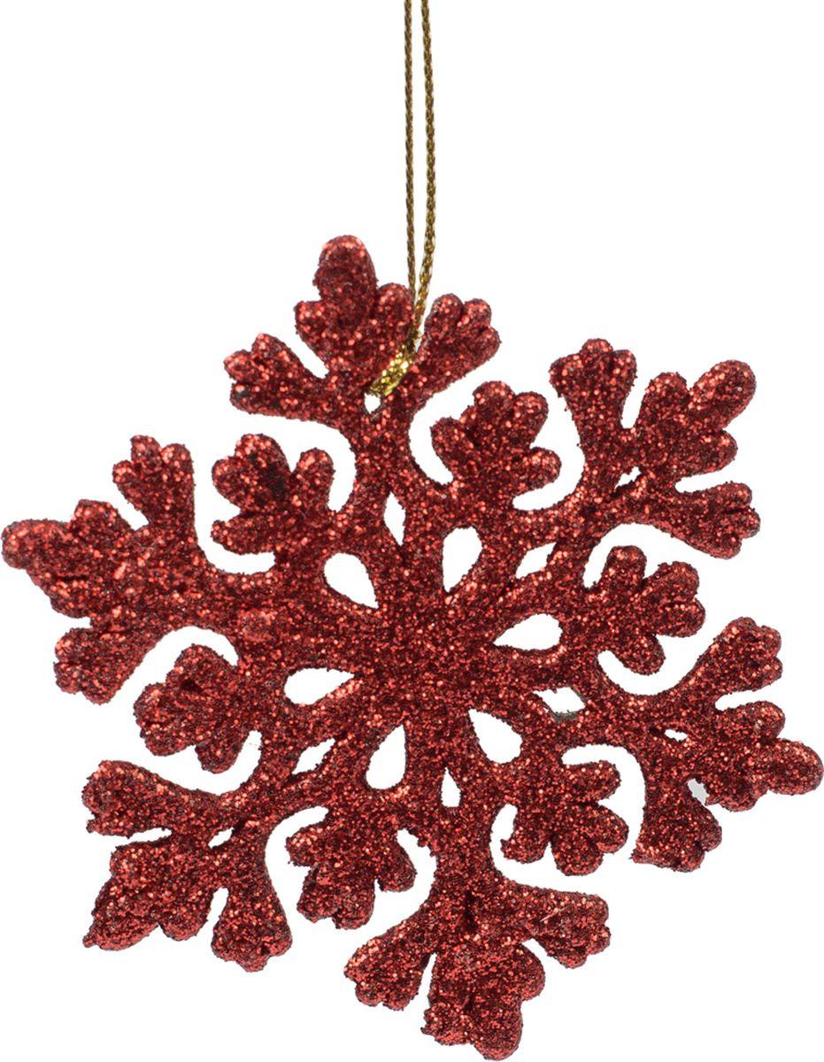 Новогоднее подвесное елочное украшение Magic Time Снежинка ажурная красная, 9 x 8 x 0,2 см новогоднее подвесное украшение снежинка цвет золотистый 25102