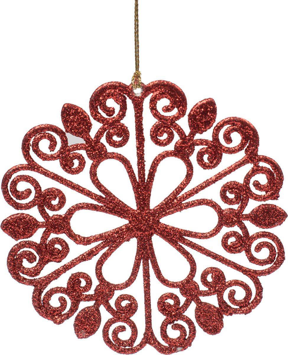 Новогоднее подвесное елочное украшение Magic Time Цветок красный, 12 x 12 x 0,2 см украшение елочное шар красный с блестками 13 см красный полимерный материал