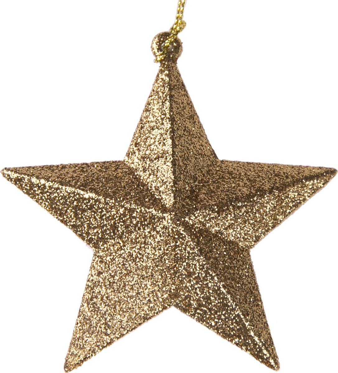Новогоднее подвесное елочное украшение Magic Time Звезда, цвет: золотой, 10 x 9,5 x 3,5 см украшение новогоднее подвесное magic time морозная звезда 8 см