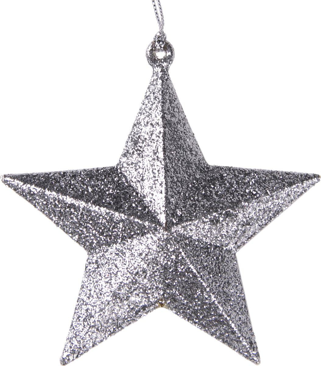 Новогоднее подвесное елочное украшение Magic Time Звезда, цвет: серебряный, 10 x 9,5 x 3,5 см украшение новогоднее подвесное magic time морозная звезда 8 см